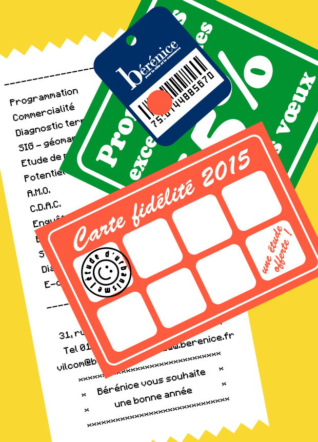 une carte de voeux avec des étiquettes commerciales